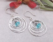 Light Turquoise Swarovski Crystal & Sterling Silver Circle Dangle Earrings