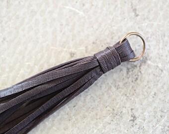 Brown Deerskin Leather Tassel -140 mm- Pendant Handmade Accessorie - 1 Piece