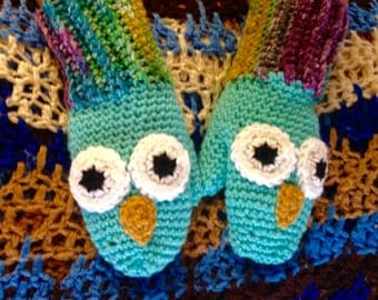 Owl mittens, crochet teal owl mittens. Multiple sizes available.