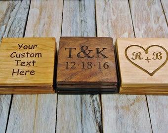 ONE SET OF 4 Custom Engraved Coasters - (Choose Wood Type) - Set of 4 Coasters - Wood Coasters - Gift Set - Coffee Coasters - Wedding Gift