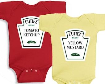Ketchup Mustard Twins Onesie Bodysuit Baby Shower Gift Funny Geek Nerd Cute Fun Food Twin