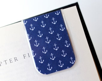 Anchor Bookmark Magnetic Laminated White Blue Anchors Ocean Ship Boat Texture Christmas Teacher Gift Student School Reading Read Literacy