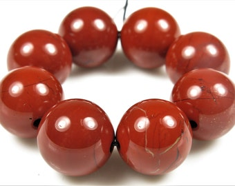 Luscious Quality Brick Red Jasper Large Round Bead - 13mm - 8 Beads - B6590