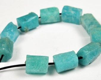 Beautiful ~ Natural Peruvian Vibrant Sky Blue Amazonite Rough Nugget Cylindrical Tube Bead - 8.5~10mm (bead length) - 10 beads - B6599