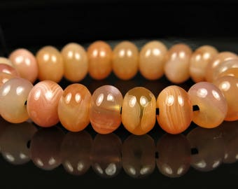RESERVED for Barbara ~ Sweet ~ Luscious Carnelian Smooth Rondelle Bead - 7mm x 5mm - 22 beads - B7266