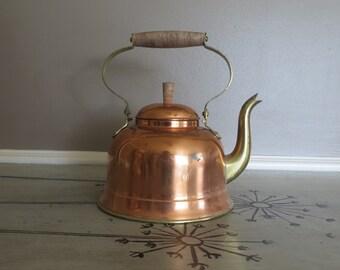 Vintage Copper Kettle marked Portugal Tea Kettle Water Pot
