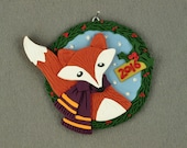 2016 Limited Edition Holiday Fox Polymer Clay Christmas Ornament by Lisa J. Ammerman