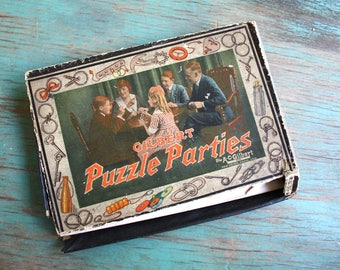Gilbert Puzzle Parties Game, Vintage Game, Ring Puzzles, Vintage Game Pieces, 1917 Game
