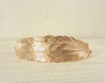 Rose Gold Feather Bracelet - Bohemian Cuff Bracelet - Rose Gold Stacking Cuff Bracelet - Adjustable Rose Gold Plated Feather Bracelet