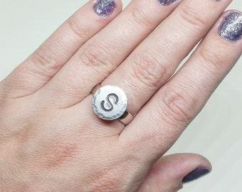 Silver Initial Ring - Monogram Initial Jewelry - Personalized Ring - Custom Ring - Initial Rings for Women