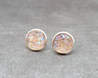 Champagne Druzy Stud Earrings, Druzy Earring, Simple Earring, Gift for Her, Minimalist Earring, Dainty Earring, Stud Earring, Hypoallergenic
