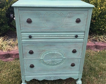 Vintage Chic Sea Green Dresser / Chest of Drawers