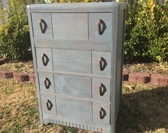 SOLD ** Vintage Chic Blue Grey Dresser / Chest of Drawers