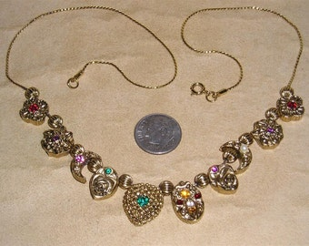 Vintage Rhinestone Slide Necklace With Flowers Crescent Moons 1970's Jewelry A61