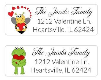 Valentine Address Label, Return Address Label, Valentine Envelope Seal, Christmas Label, Personalized Valentine Gift Tags (286)