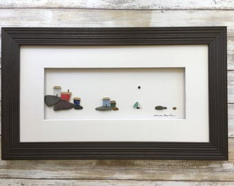 Original pebble art 8 by 15 seaside houses wall art by sharon nowlan available framed or unframed