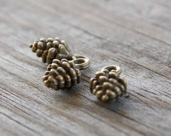 10 Bronze Pinecone Charms 13mm