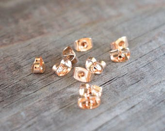 100 pairs Rose Gold Earring Backs 6mm Nickel Free
