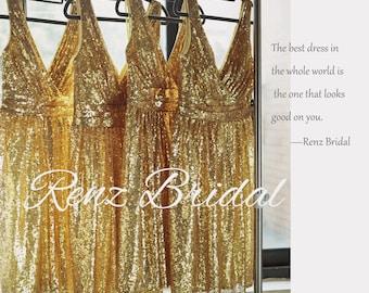 2017 Short Rose Gold Bridesmaid Dress Sequin, V Neck Luxury Sheath Evening Dress, Metallic Sparkle Wedding Dress Knee Length (TQ150D)-RENZ