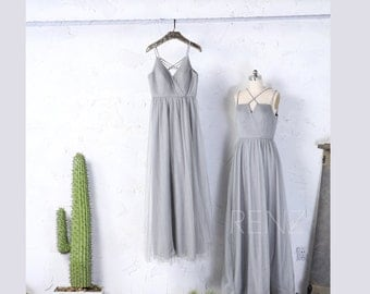 2017 Mix Match Gray Tulle Bridesmaid Dress, V Neck Wedding Dress, Beading Straps Prom Dress, A Line Evening Gown Full Length (LS166/LS149B)