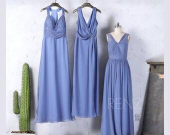 Mix Match Steel Blue Bridesmaid Dress,Sexy V Neck Wedding Dress,Ruched Bodice Prom Dress,Long Maxi Dress Floor  Length(F079/F342/F253)