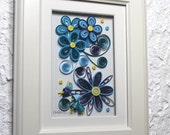 Decorative frame/blue bouquet/quilled blue flowers/shades of blue/paper quilling/home décor/wall decoration
