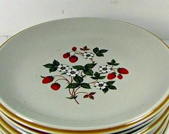 Vintage STRAWBERRiES n CREAM DESSERT PLATE Set/7 Sheffield Strawberry Red Berry