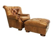 Ralph  Lauren leather armchair with an ottoman in cognac leather