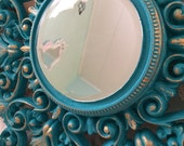 Ornate vintage mirror, turquoise 18 inch frame