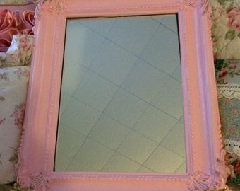 Shabby ornate mirror,open frame or picture frame, gloss pink and gold