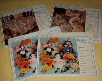 Patchwork and Quilting, Pillows Pillows Pillows, or Soft Toys by Creative Patterns - vintage softcover craft book 1975