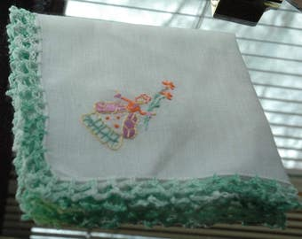 Vintage Embroidered Flower Lady Hankie/Hanky with Varying Greens Hand Stitched Border - FREE SHIPPING