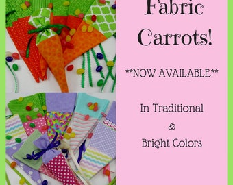 Easter Fabric Carrots - Jelly Bean Bag - Treat Bag - Choice of Orange & Green OR Bright Colors - Horse Party Favor Peter Rabbit Shower - RTS