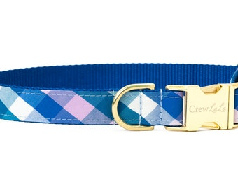 Crew LaLa™ Seabrook Blue Check Dog Collar