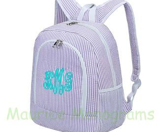 Personalized Large Seersucker Backpack - Purple Seersucker School Booksack or Diaper Bag - Monogrammed FREE