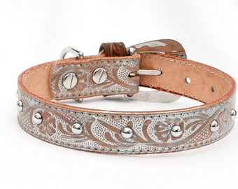 Western Leather Dog Collar, Tooled Leather Dog Collar, Ranch Dog Collar, One of a Kind, Ready to ship, Medium Leather Dog Collar Fits 12-13""