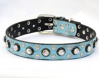 "Turquoise Leather Dog Collar,  Leather Dog Collar, Jeweled dog collar, Made in USA, Labrador collar, Collar, Sizes 17""- 21"