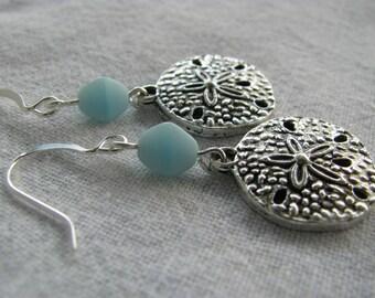 Blue Earrings, Pale Blue Earrings, Sand Dollar Earrings, Silver Earrings, Sand Dollar Dangles, Simple Earrings