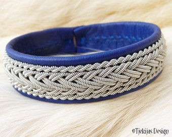 "Viking Sami Bracelet HEIDRUN size 17,5 cm / 6.9"" - 20% off OUTLET ready to ship - Blue Leather Cuff with Tin Thread Braid"