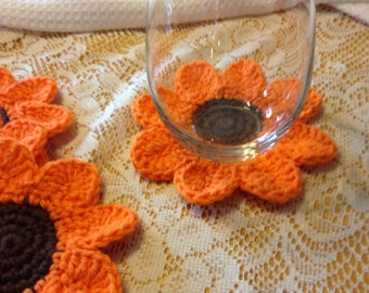 Set of 4 Crocheted Flower Coasters, 100% Cotton