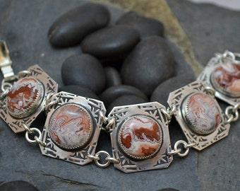 rosetta lace jasper link bracelet. artisan stone bracelet sized to fit.