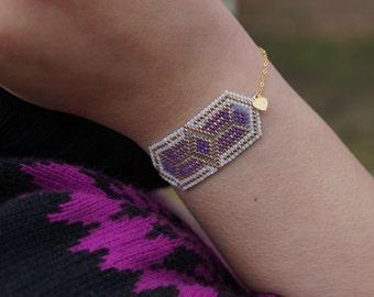 Tribal Bracelet, Geometric Bracelet, Peyote Bracelet, Initial Bracelet, Bohemian Jewelry, Boho Bracelet, personalized jewelry, Gifts for her