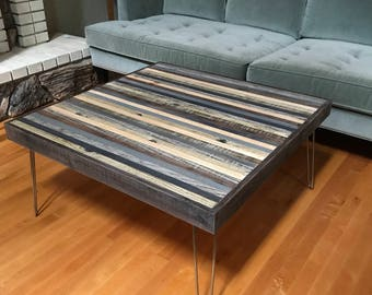 Summer Sale! Beautiful Modern Rustic Mid Century Coffee Table in Greys and Blacks with Hairpin Legs - Urban Industrial