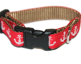 Anchor Collar Matching Leash Red Anchor Leash and Collar Set Nautical Dog Collar Small Dog Collar Large Dog Collar Pet Collar with Anchors