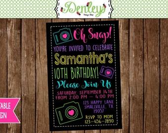 Camera Invitation, Camera Party, Tween Camara Party, Oh Snap Invitation, Teen Camera Party Invitation (OS01)