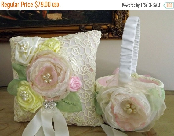 SALE Wedding Ring Bearer Pillow And Flower Girl Basket   Hand Dyed Venice Lace, Handmade Flowers Soft Pink, Yellow Spring Flower Garden