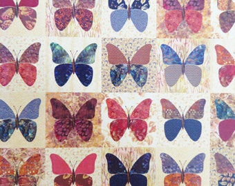 Butterflies Quilt Pattern, Laundry Basket Quilts, Butterfly Applique, Wall Quilt or Throw, uncut pattern