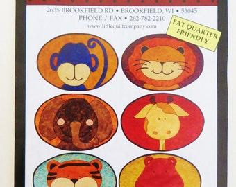 Safari Placemats, Applique Quilt Placemats Pattern, Zoo Animals Monkey Lion, Elephant, Giraffe, Tiger, Hippo, Children's Placemats