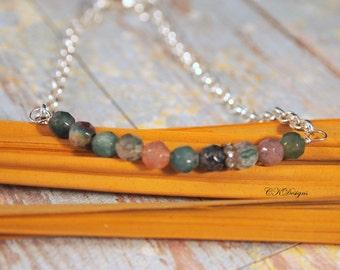 Minimalist Beaded Bracelet, Delicate Chain Bracelet,  Beaded Chain Bracelet, Bar Bracelet, Gift for Her,  OOAK Handmade Bracelet.