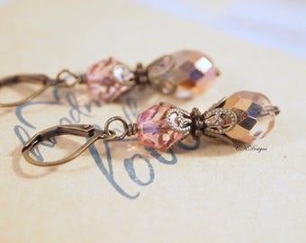 Peachy Pink Vintage Style Earrings, Czech Crystal Drop earrings, Victorian Style Dangle  Pierced or Clip-on Earrings. Handmade Earrings.